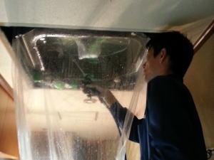 オフィス用エアコンクリーニングの流れ(高圧洗浄)
